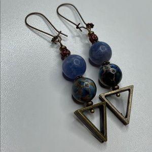 Artisan beaded stone geometric earrings. (B09)